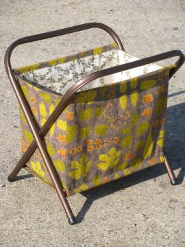 Mod leaf print cotton barkcloth needlework bag stand, 50s-60s vintage