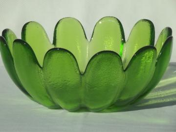Mod lime green glass flower shaped bowl,  retro 70s vintage Indiana glass