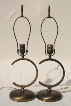 mod mid-century designer lamps, broken circle solid brass table lights pair