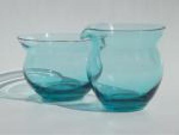 Mod mini cream & sugar set for one, vintage ocean blue  hand-blown glass
