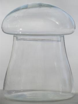Mod mushroom shape glass jar, retro canister or terrarium display