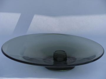 Mod off-center circle candle holder, retro smoke grey glass, vintage Viking