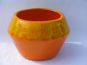 Mod orange drip planter pot, retro California pottery, Moreno Ceramics