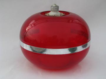 Mod red lucite plastic globe light, screw in socket ceiling fixture, 60s vintage lamp