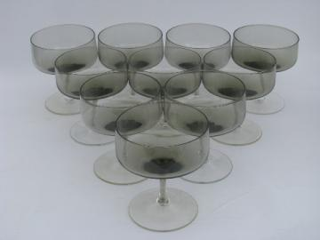 Mod smoke brown / crystal vintage set 10 low champagnes or sherbets
