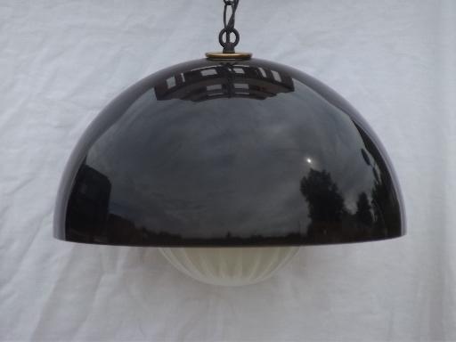 Mod Smoke Lucite Plastic Dome Globe Shade Swag Lamp Retro