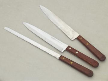 Mod teak handle bread & carving knives, Craftsman & Ekco Viscount knife lot