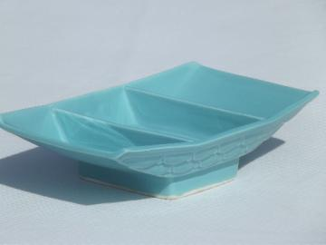 Mod turquoise pedestal bowl / planter, Belvedere studio pottery dated 1956