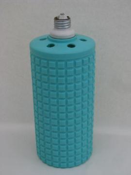 Mod turquoise plastic canister lamp / light shade, mid-century vintage