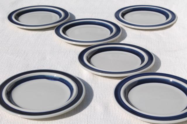 mod vintage Arabia Finland china Anemone blue band stoneware pottery plates & mod vintage Arabia Finland china Anemone blue band stoneware ...