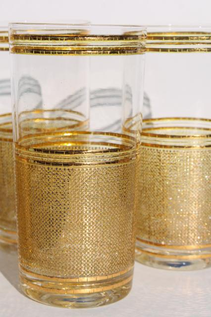 mod vintage Culver textured gold decorated glassware, highball glasses & ice bucket