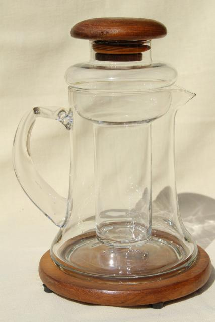 mod vintage Dolphin teak wood glass ice insert cooler pitcher carafe set