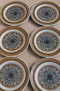 mod vintage Franciscan earthenware Nut Tree salad plates, retro 1970s dinnerware