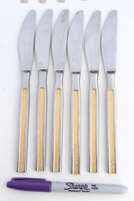 mod vintage Michelin 18-8 stainless steel flatware w/ gold accents, Solingen Germany