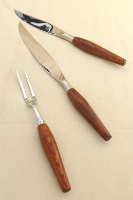 mod vintage Mode Danish carving knife set, Sheffield England stainless steel blades