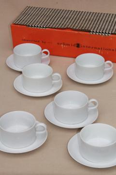 mod vintage Schmid Forma pure white porcelain cups & saucers, china set in original box