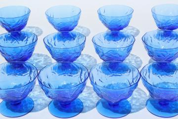 mod vintage Seneca driftwood crinkle glass ice cream sherbet dishes, delphine blue