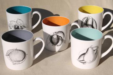 mod vintage Susie Cooper Wedgwood black fruit line drawing art cups or coffee mugs