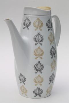 mod vintage Thomas - Germany porcelain coffee pot, tan & black leaves palm leaf print