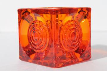 mod vintage Viking glass orange vase, stoplight bullseye circles on square cube shape
