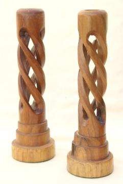 mod vintage acacia wood candlesticks, open twist spiral carved wood candle holders