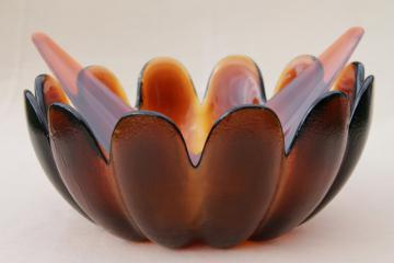mod vintage amber brown textured glass lotus flower salad bowl & plastic servers set