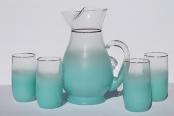Mod vintage aqua blue blendo color fade glass drinks set, pitcher & glasses
