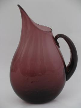 Mod vintage Blenko art glass, huge pitcher, 60s amethyst purple color