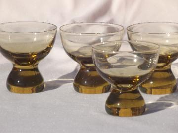 Mod vintage blown  glass  'paperweight' glasses,  low footed cocktail glasses