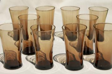 mod vintage brown smoke glass cooler glasses, tall tumblers for iced tea or mixed drinks