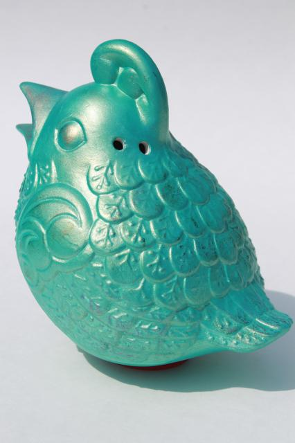 mod vintage ceramic kookaburra, aqua blue bird potpourri or air freshener holder