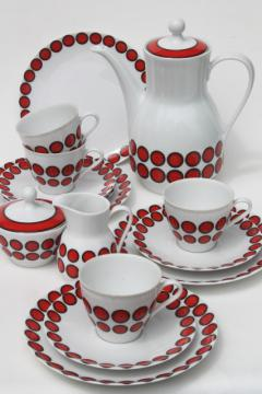 mod vintage china coffee pot set, cups, plates - black circles & red dots Winterling Bavaria