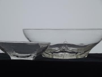 Mod vintage chip and dip bowl set, MCM square base clear glass bowls