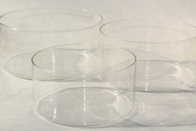 mod vintage clear glass nest of bowls, flat bottom round cylinder shape