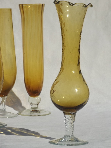 Mod Vintage Colored Glass Bud Vases Lot Hand Blown Optic Art Glass