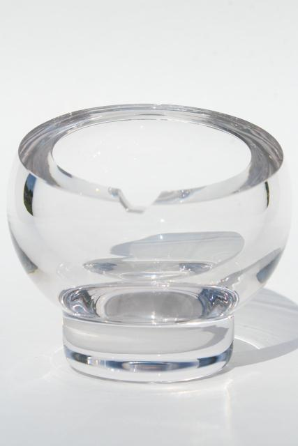 mod vintage crystal clear glass ashtray, round ball globe orb shape