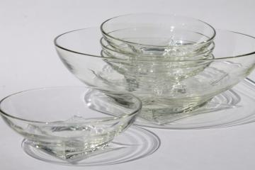 mod vintage crystal clear glass salad set, Hazel Atlas Colony square base round bowls