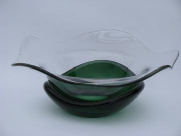 Mod vintage free-form art glass bowl, crystal w/ green paperweight base