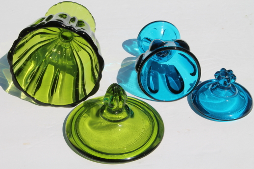 Mod vintage genie jar colored glass candy dishes - blue & green Viking glass, amber glass