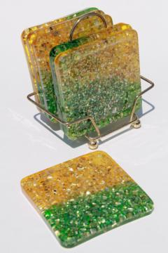 mod vintage glitter lucite drinks coasters, chunky retro square coaster set in green & gold