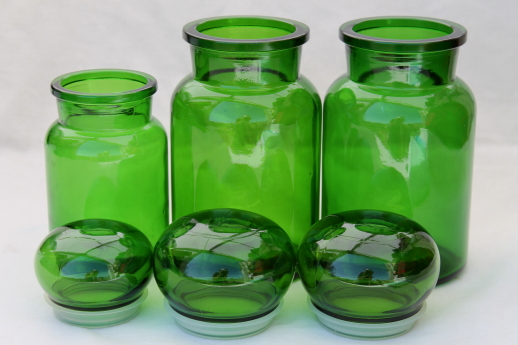 Mod Vintage Green Glass Kitchen Canisters, Airtight Seal Apothecary Jars  Canister Set