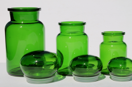 mod vintage green glass kitchen canisters airtight seal