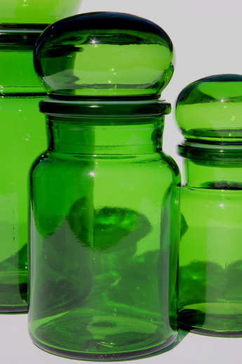 Mod Vintage Green Glass Kitchen Canisters, Airtight Seal