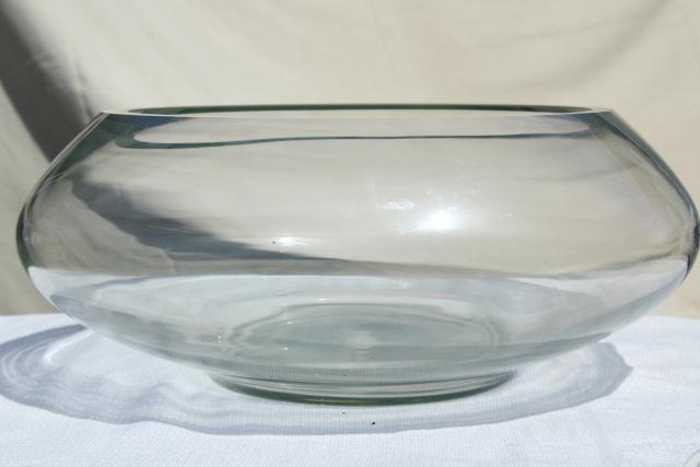 mod vintage hand blown glass cups & huge punch bowl, crystal clear Mexican art glass