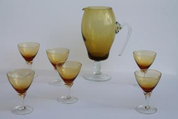 Mod vintage hand-blown glass cocktail pitcher & glasses set, amber & clear glass twist stems