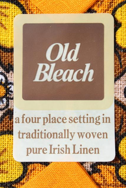 mod vintage handwoven Irish linen table place mats & napkins set, Old Bleach Ireland label