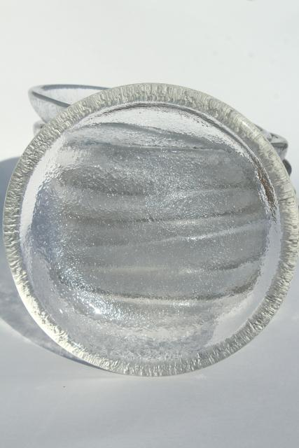 mod vintage ice textured glass salad plate bowls, heavy crystal clear glass