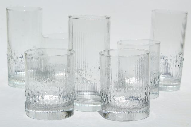 mod vintage ice textured glass tumblers & rocks glasses, Iittala Niva