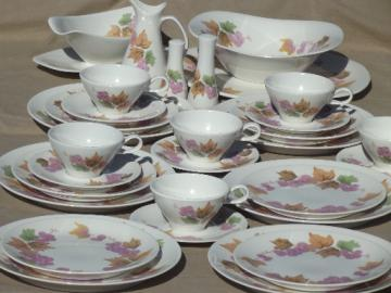 Mod vintage Iroquois Impromptu purple grapes pattern china set for 6