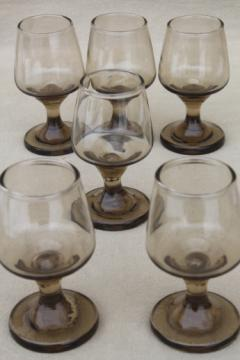 Mod vintage Libbey smoke brown glasses, Tawny Accent tiny cordial stemmed goblets